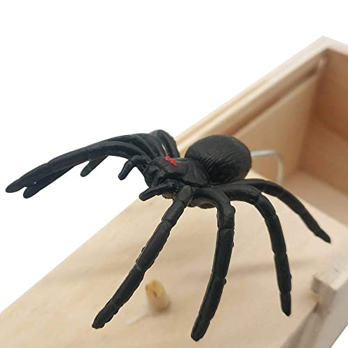 Spider in a Box Prank Gag Toy Wooden Spoof Joke Gift Halloween Prop UK Stock