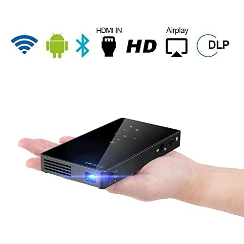 Bluetooth Schwarz WiFi TOUMEI C800S Mini Beamer Android 7.1 Video DLP Heimkino Pocket Projektor f/ür iPhone Android Phone USB Unterst/ützung HDMI Eingang TV Box //PS4 TF Karte