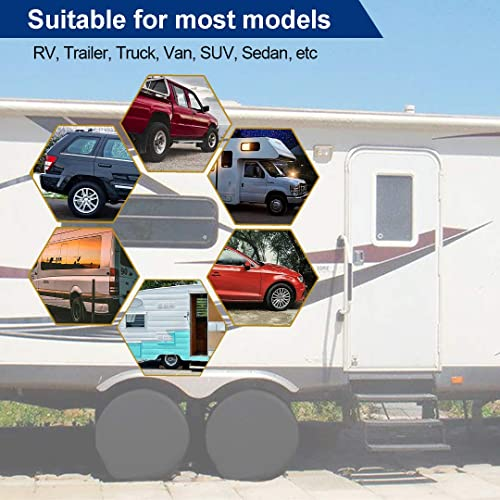 4 Pack Sun UV Tires Protector for Trailer Universal Fits 24 to 32 Car Tire Diameter Camper Motorhome Wheel Covers Waterproof 420D Oxford Tire Covers for RV Wheel,