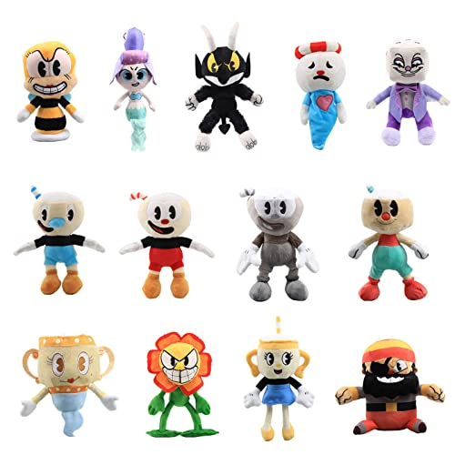 10 Inch Cuphead Game Plush Toy Cuphead /& Mugman Mecup And Brocup Figure Doll
