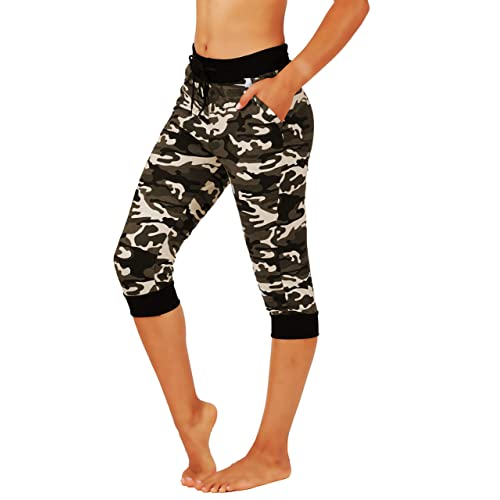 Fit Division Women Premium Camo Joggers Yoga Pants Cotton Blend Casual Sweatpants