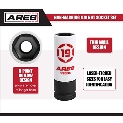 Color Coded /& Laser Etched for Easy Identification Protective Sleeve Prevents Damage to Custom Rims /& Lug Nuts ARES 59003-17mm 1//2-Inch Drive Non-Marring Lug Nut Socket